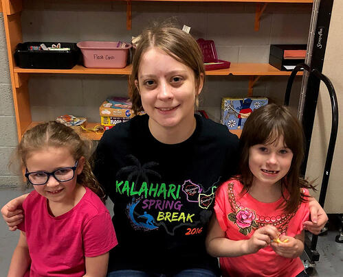 Mentor Adrianna Miksch with her mentees Kenzie Chambers and Sophia Deem